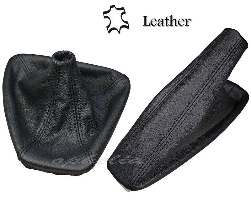 Levier de vitesses et frein /à main en cuir Noir fait /à la main M//////coutures