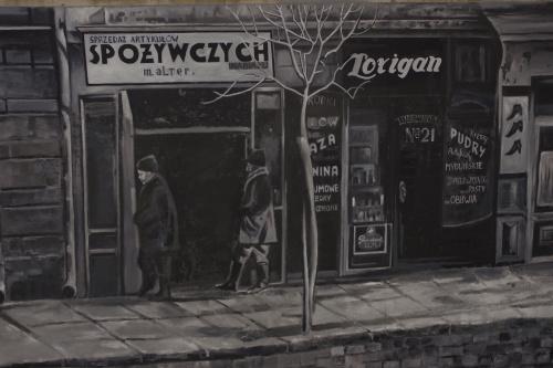 Mural jest kolażem zdjęć lubelskiego dokumentalisty Stefana Kiełżni upamiętnia żydowskich mieszkańców miasta