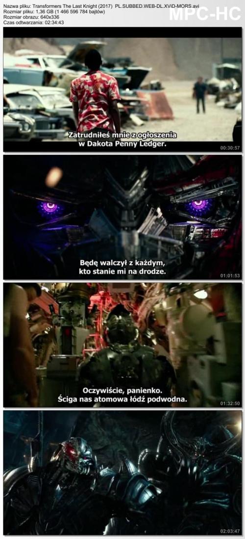 Transformers: Ostatni Rycerz / Transformers The Last Knight (2017) PL.SUBBED.WEB-DL.XViD-MORS  /  Napisy PL