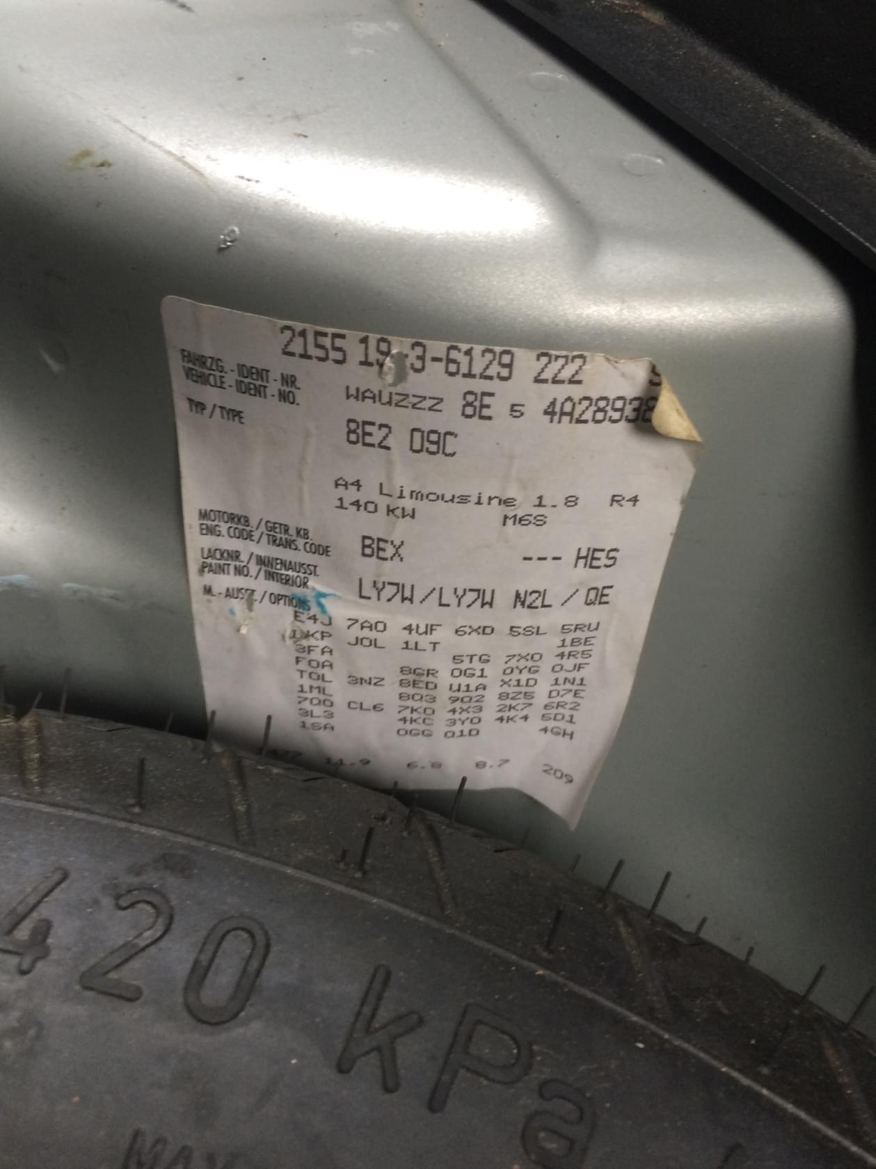 18 Turbo Bex Pomoc W Rozkodowaniu Wlepki A4 B6b7 Audi A4 Klub