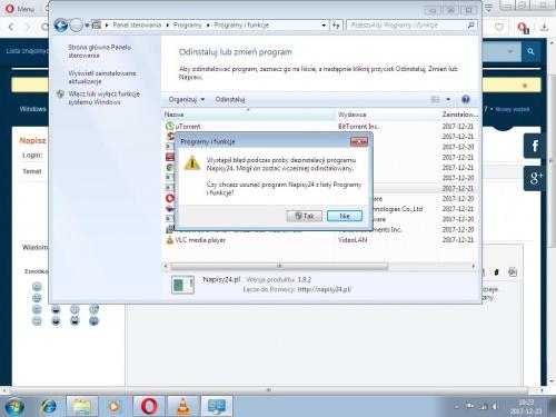 Nie można usuwać programów z dodaj usuń programy