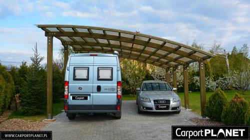 Zadaszenie na dwa samochody z drewna projekt P2