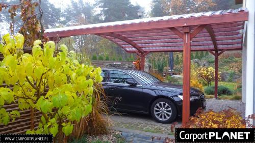 zadaszenie nad samochód z drewna projekt W4